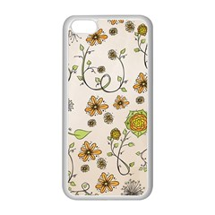 Yellow Whimsical Flowers  Apple Iphone 5c Seamless Case (white)