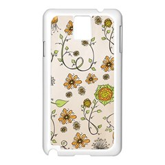 Yellow Whimsical Flowers  Samsung Galaxy Note 3 N9005 Case (White)