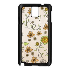 Yellow Whimsical Flowers  Samsung Galaxy Note 3 N9005 Case (Black)