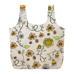 Yellow Whimsical Flowers  Reusable Bag (L)