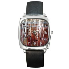 Automn Swamp Square Leather Watch
