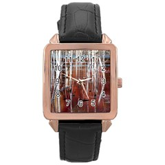 Automn Swamp Rose Gold Leather Watch