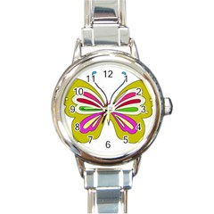 Color Butterfly  Round Italian Charm Watch