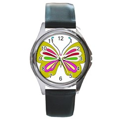 Color Butterfly  Round Leather Watch (Silver Rim)