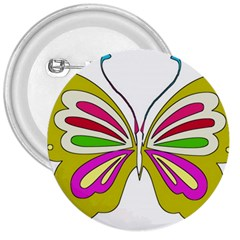 Color Butterfly  3  Button