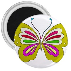 Color Butterfly  3  Button Magnet