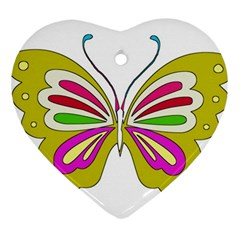 Color Butterfly  Heart Ornament