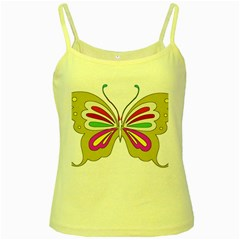Color Butterfly  Yellow Spaghetti Tank