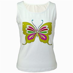 Color Butterfly  Women s Tank Top (White)