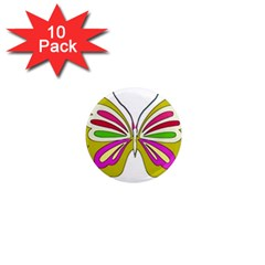 Color Butterfly  1  Mini Button Magnet (10 Pack)