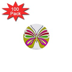 Color Butterfly  1  Mini Button (100 pack)