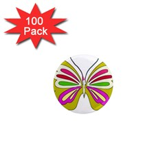 Color Butterfly  1  Mini Button Magnet (100 pack)
