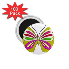 Color Butterfly  1 75  Button Magnet (100 Pack)