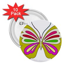 Color Butterfly  2 25  Button (10 Pack)