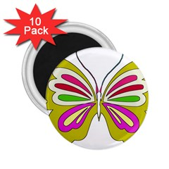Color Butterfly  2.25  Button Magnet (10 pack)