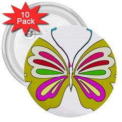Color Butterfly  3  Button (10 pack)