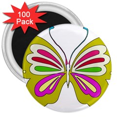 Color Butterfly  3  Button Magnet (100 pack)