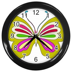 Color Butterfly  Wall Clock (Black)