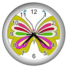 Color Butterfly  Wall Clock (Silver)