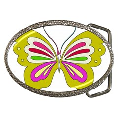 Color Butterfly  Belt Buckle (Oval)