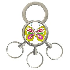 Color Butterfly  3 Ring Key Chain
