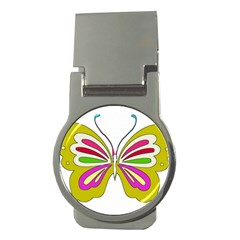 Color Butterfly  Money Clip (Round)