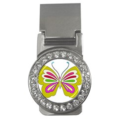 Color Butterfly  Money Clip (cz)