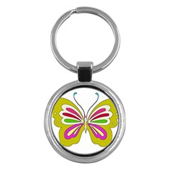 Color Butterfly  Key Chain (round)
