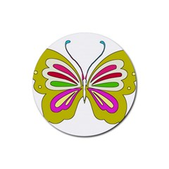 Color Butterfly  Drink Coasters 4 Pack (Round)