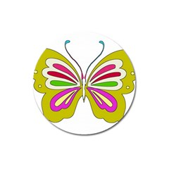 Color Butterfly  Magnet 3  (round)