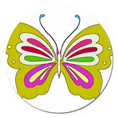 Color Butterfly  Magnet 5  (round)