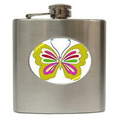 Color Butterfly  Hip Flask