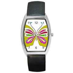 Color Butterfly  Tonneau Leather Watch