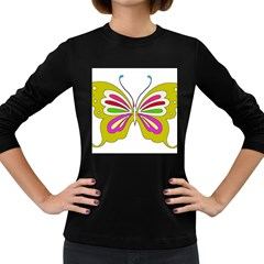 Color Butterfly  Women s Long Sleeve T-shirt (Dark Colored)