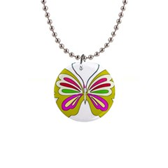 Color Butterfly  Button Necklace