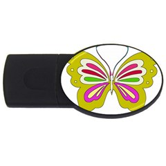 Color Butterfly  4gb Usb Flash Drive (oval)