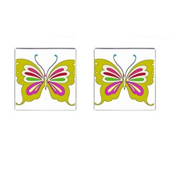 Color Butterfly  Cufflinks (Square)