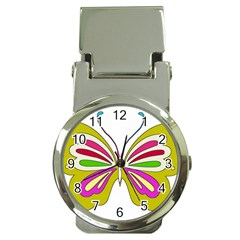 Color Butterfly  Money Clip with Watch