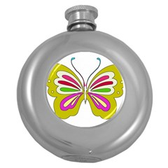 Color Butterfly  Hip Flask (Round)