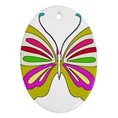 Color Butterfly  Oval Ornament (two Sides)