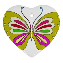 Color Butterfly  Heart Ornament (Two Sides)