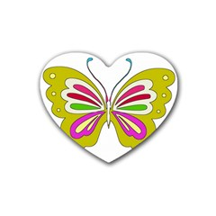 Color Butterfly  Drink Coasters 4 Pack (Heart)