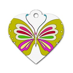 Color Butterfly  Dog Tag Heart (Two Sided)