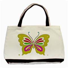 Color Butterfly  Twin-sided Black Tote Bag
