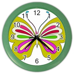 Color Butterfly  Wall Clock (Color)