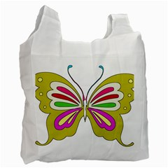 Color Butterfly  White Reusable Bag (Two Sides)