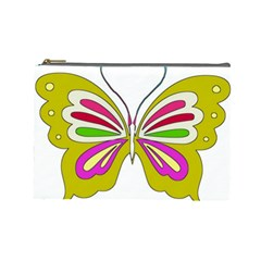 Color Butterfly  Cosmetic Bag (Large)