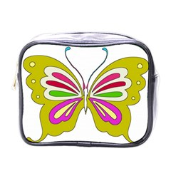Color Butterfly  Mini Travel Toiletry Bag (one Side)
