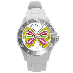 Color Butterfly  Plastic Sport Watch (large)