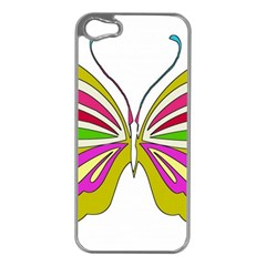Color Butterfly  Apple iPhone 5 Case (Silver)